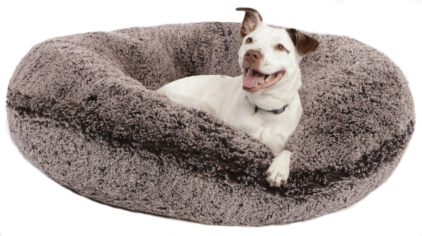 BESSIE AND BARNIE 42-Inch Bagel Bed for Pets, Large, Frosted Willow