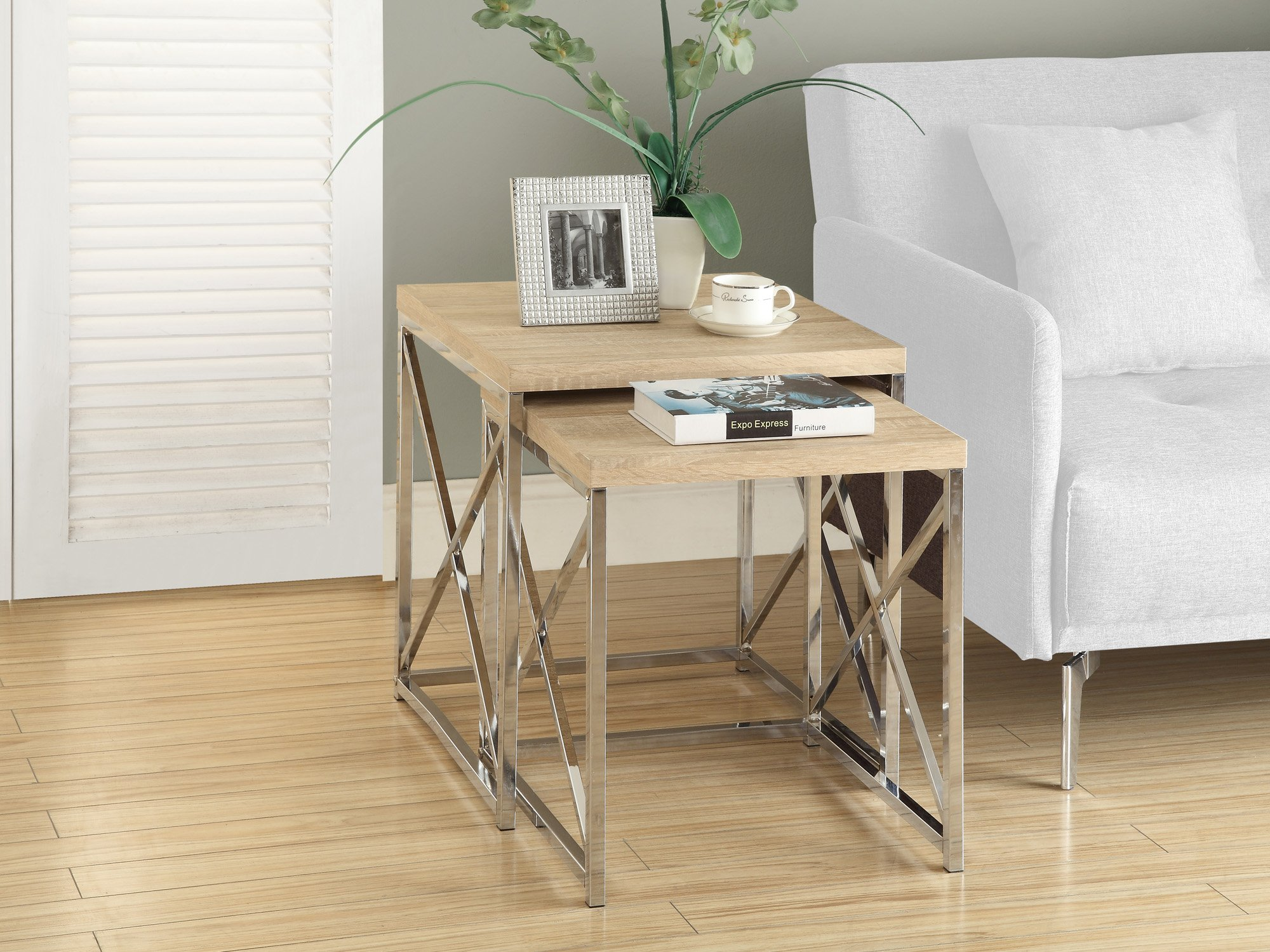 Monarch Specialties , Nesting Table, Chrome Metal, Natural, Table Set, 2 pcs by Monarch Specialties