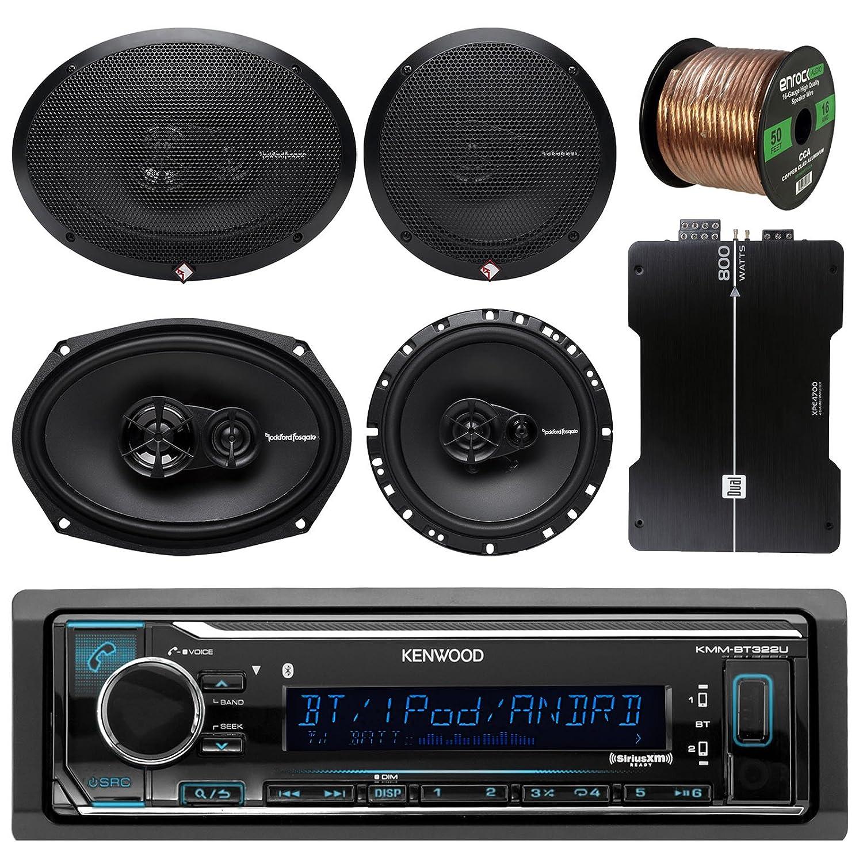 Kenwood kmmbt315u Bluetooth AM / FMラジオ車受信機バンドルコンボwith Rockford Fosgate 6.5