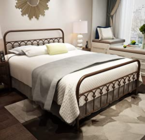 Metal Bed Frame Queen Size with Vintage Headboard and Footboard Platform Base Wrought Iron Double Bed Frame Antique Brown (Queen, Antique Brown)