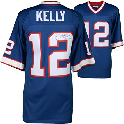 0f289ea45 Image Unavailable. Image not available for. Color  Jim Kelly Buffalo Bills  Autographed Mitchell   Ness Blue Replica Jersey ...