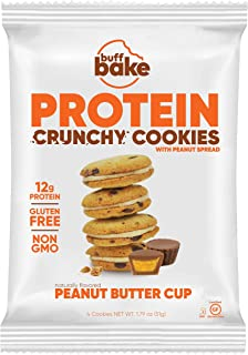 product image for Buff Bake Protein Sandwich Cookie | Peanut Butter Cup | Crunchy | Gluten Free | Non-Gmo Ingredients | 12g of Hormone-Free Whey Protein | (8Count, 1.79 Oz)
