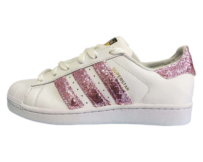 Adidas Superstar bianca con stripes e tallone in glitter