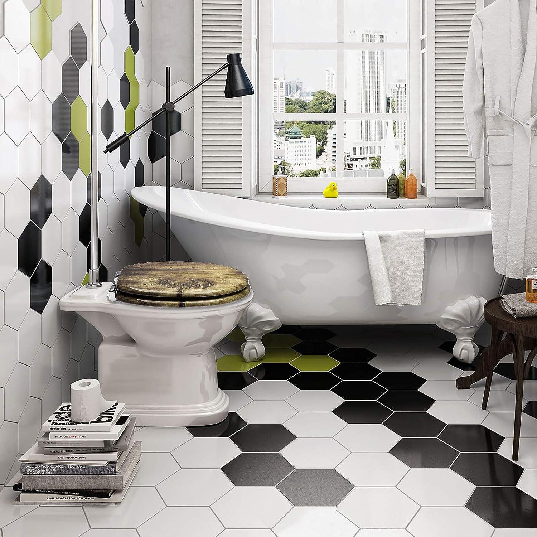 eSituro Couvercle de Toilette en MDF Descente Automatique,Couvercle de WC avec charni/ères en Zinc chrom/é,STS0223