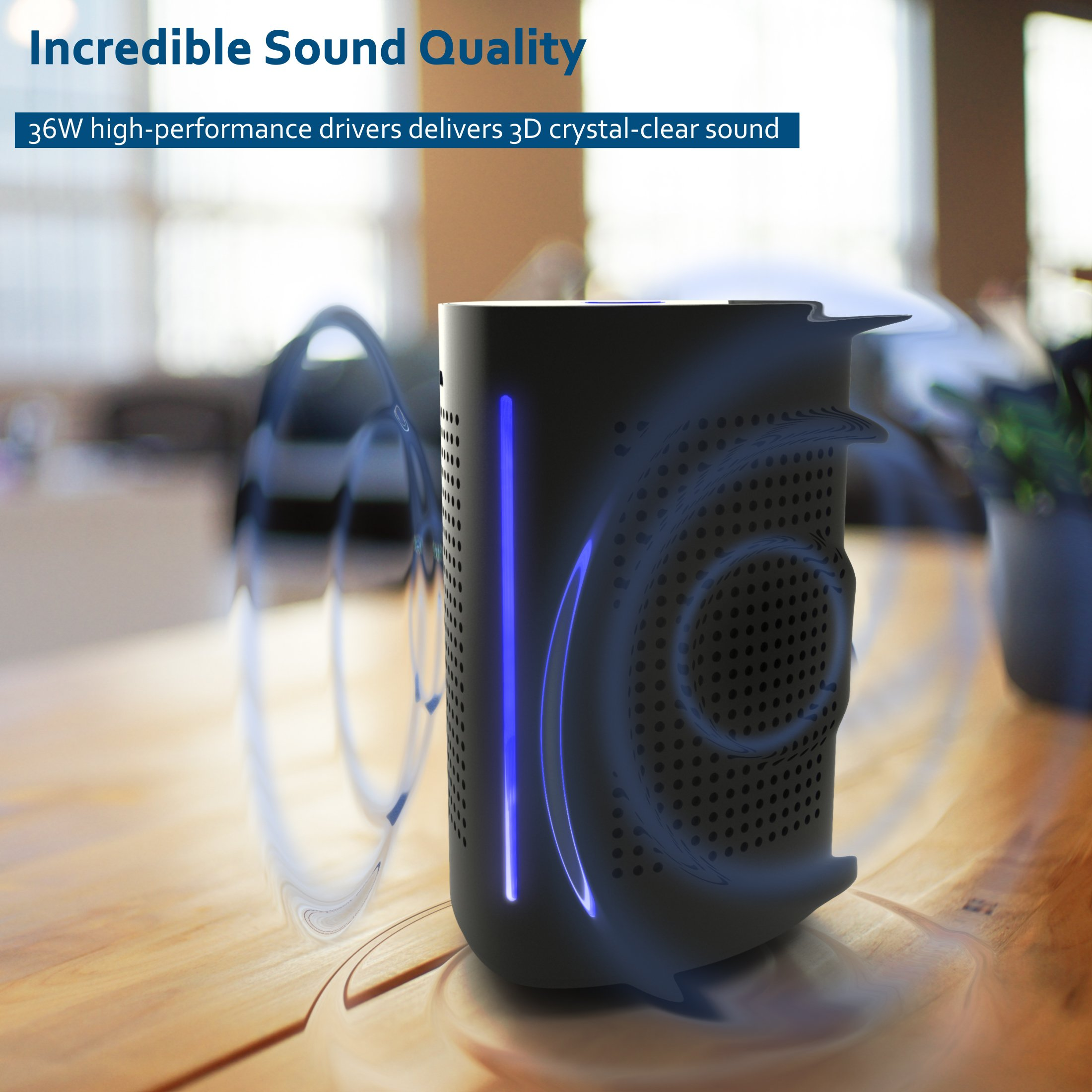 Bluetooth Computer Speaker – Wireless Bluetooth Speaker – Bluetooth Speaker for Women Men – Audio Bluetooth Speaker for iPhone Android Laptop – True Wireless Speakers – Portable Bluetooth Speakers by Bitzen (Image #4)