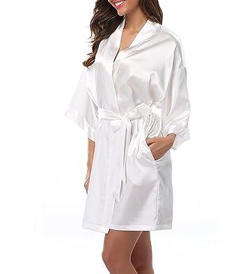 Damen Morgenmantel kurzer Kimono Seidenrobe Weicher Hochzeitstag ...