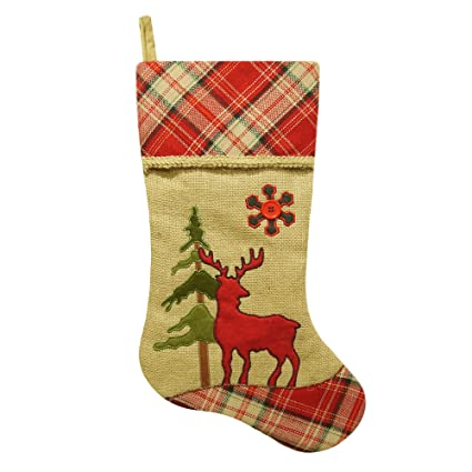 205 burlap deer christmas stocking with plaid cuff
