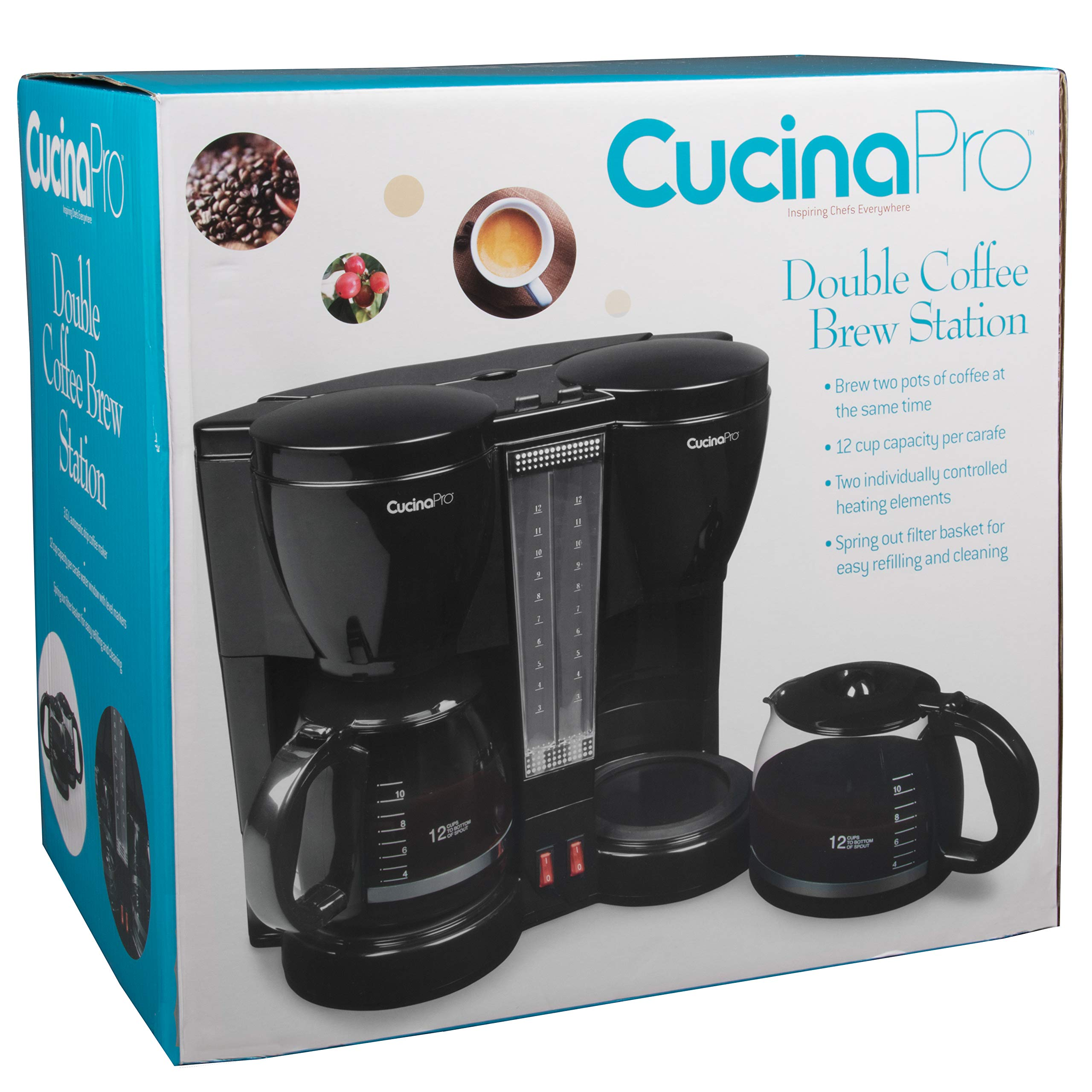 CucinaPro Double Coffee Brewer Station - Dual Coffee Maker Brews two 12-cup Pots, each with Individual Heating Elements by CucinaPro (Image #6)
