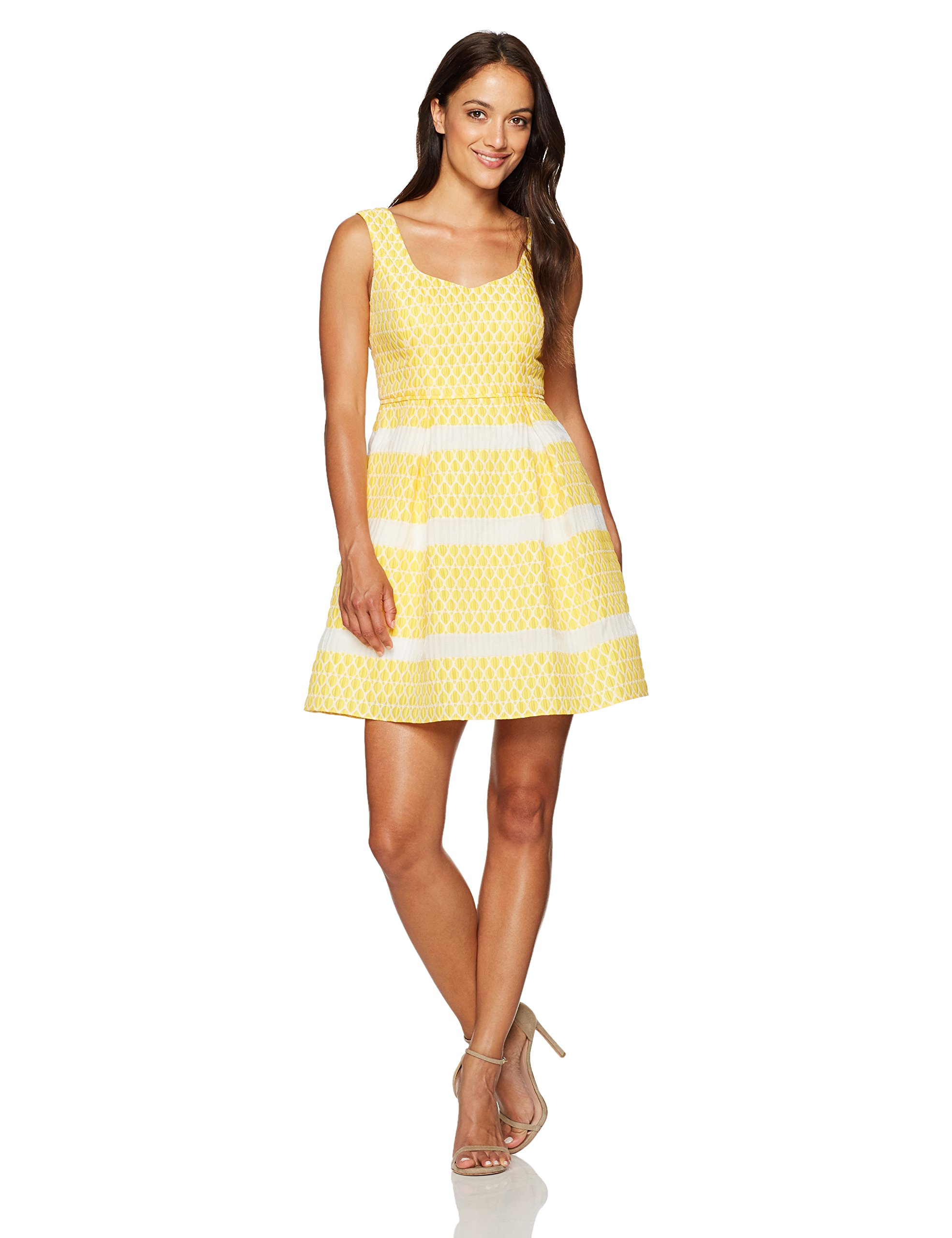 Adrianna Papell Women's Petite Fit and Flare Dress, Yellow/Ivory, 4P