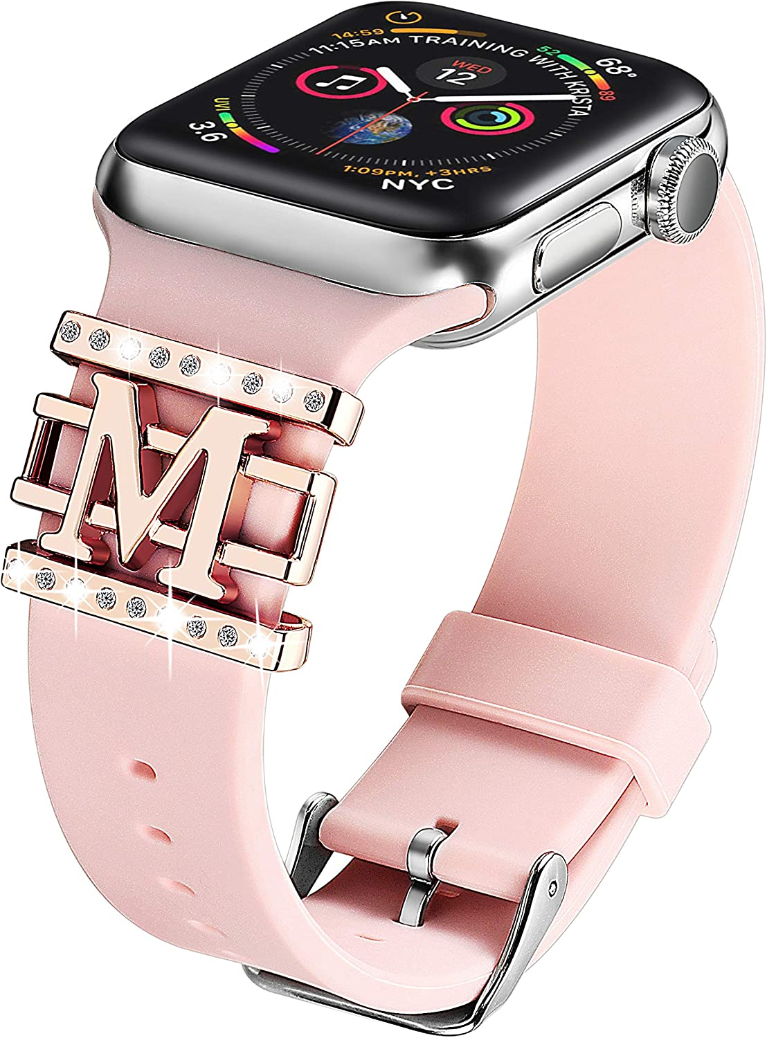 Compatible with Apple Watch Band Silicone 38mm 40mm,DMMG Apple Watch Band Accessories Decorative Rings Designed Pattern Watch Band Women,Replacement Apple Watch Band/iwatch Series 4 3 2 1(Pink)