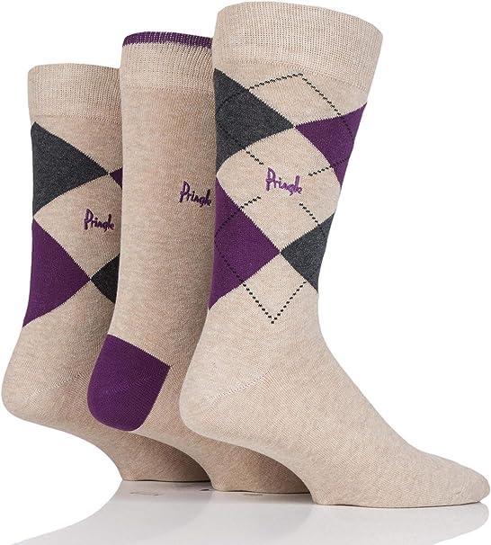 Mens 3 Pair Pringle New Waverley Argyle Patterned /& Plain Socks