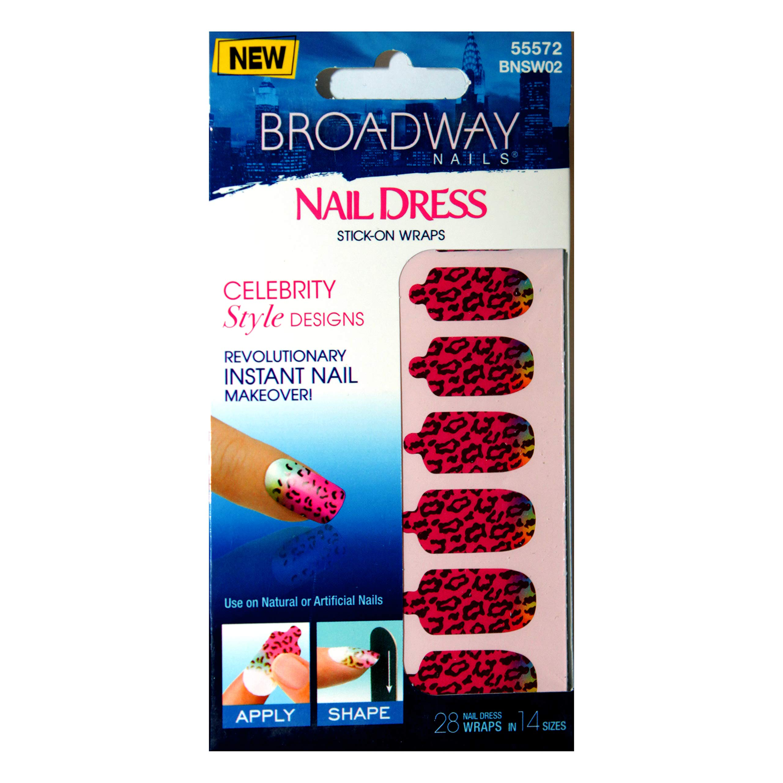 Broadway Nail (1) Pack Nail Dress Stick-On Wraps - Celebrity Style Designs - Instant Nail Makeover - 28 Wraps per Pack - Fuchsia Leopard Pattern with Yellow, Green & Blue Moon #55572 by Broadway nail