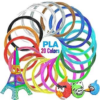 Heawaa Filamento PLA 20 colores, filamento impresora 3D 1,75 mm 5 ...