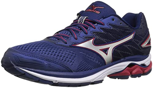 Mizuno Canada Men's Wave Rider 20 Running Shoes, Blue Depths/Silver/Chinese  Red