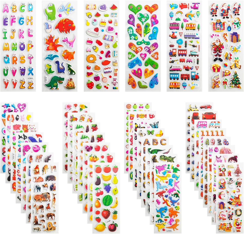Pegatinas para Niños, Leenou 950+ 3D Puffy Sticker Variedad de Pegatinas para Regalos Gratificantes Scrapbooking Que Incluye Animales, Peces, Dinosaurios, Números, Frutas, Aviones y Más (36 Hojas)