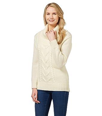 Wool Overs Pullover mit Aran-Zopfmuster aus Reiner Wolle für Damen ...