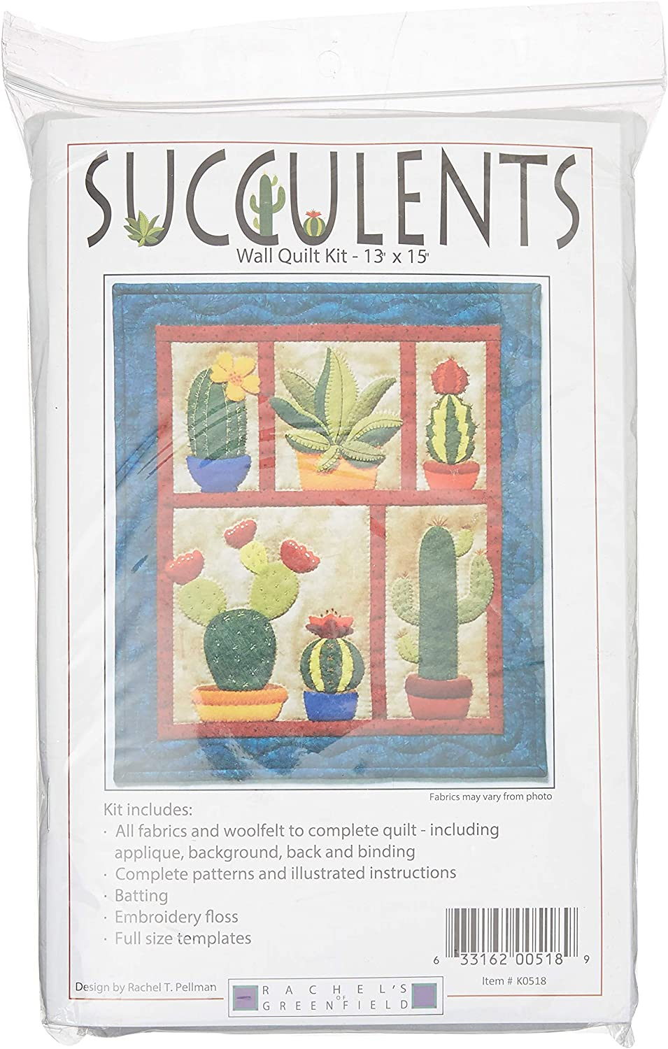 Rachel's Of Greenfield Succulents Wall Quilt Kit Pattern, None