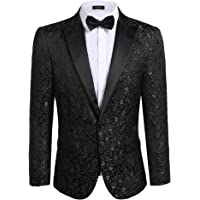 Mens Coofandy Casual Floral Party Dress Suit Slim Fit Stylish Jacket Wedding Blazer