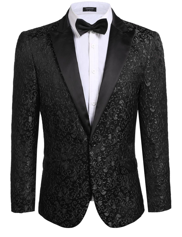 COOFANDY メンズ 花柄パーティードレススーツ スタイリッシュなディナージャケット ウェディングブレザー プロムタキシード B071VYKHHV US XL|ブラック ブラック US XL