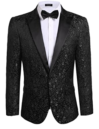 d800f8f02b6c Coofandy Men's Floral Party Dress Suit Stylish Dinner Jacket Wedding Blazer  One Button Tuxdeo Black US