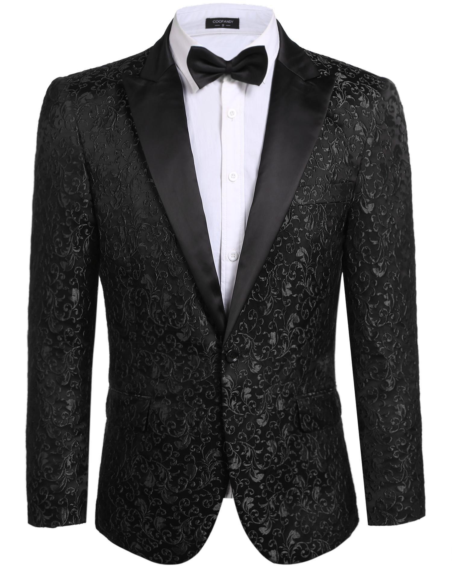 JINIDU Men's Floral Party Dress Suit Stylish Dinner Jacket Wedding Blazer Prom Tuxedo