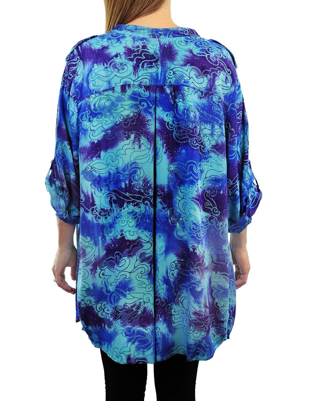 We Be Bop Womens Batik Plus Size East Winds Katherine Blouse 0X 1X 2X 3X 4X 5X 6X