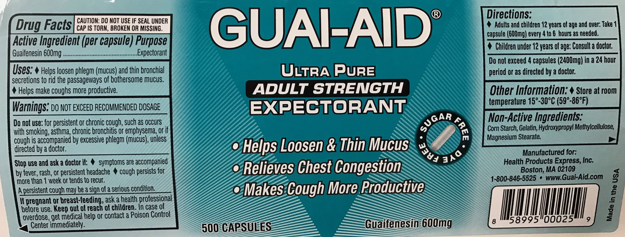 524 Guai-Aid® 600mg ''Ultra-Pure'' Expectorant Capsules - 1 bottle of 500 & 24 Size Travel Bottle