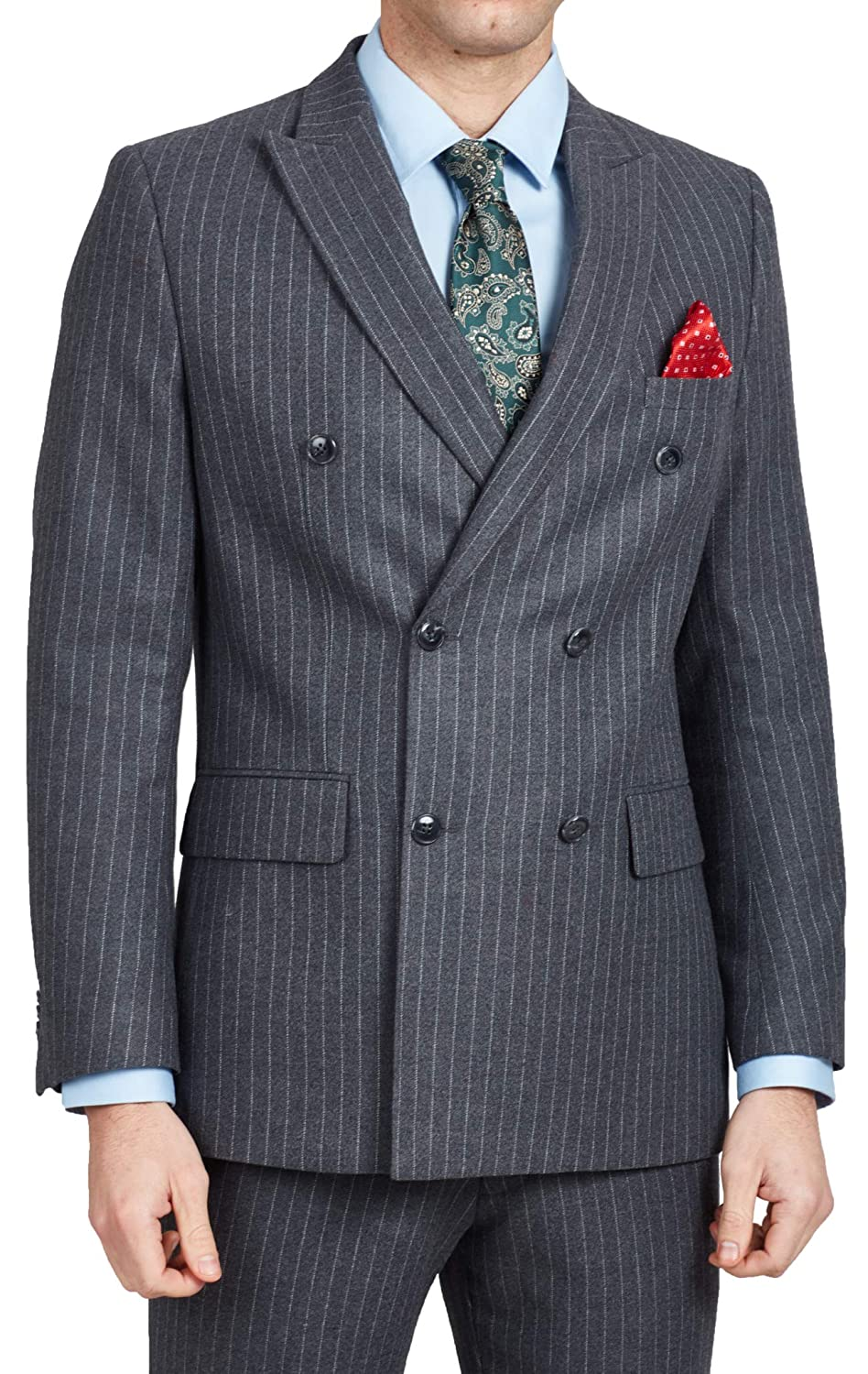Retro Clothing for Men | Vintage Men's Fashion Dobell Mens Charcoal Suit Jacket Tailored Fit Notch Lapel Double Breasted Chalk Stripe £99.99 AT vintagedancer.com
