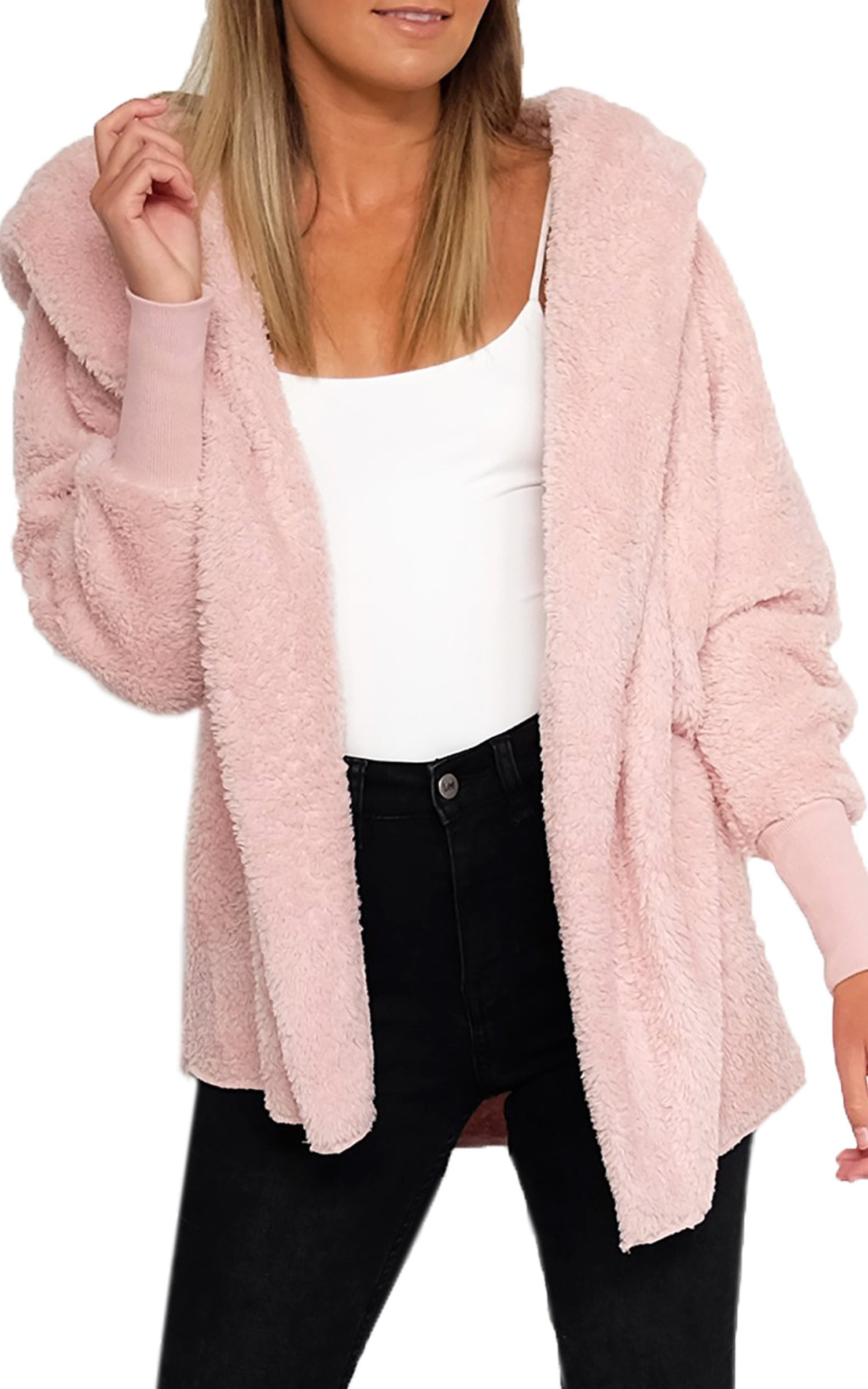 ECOWISH Womens Fashion Faux Shearling Warm Coat Long Sleeve Soft Winter Hooded Cardigan Outerwear Pink S