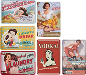 Juvale 6-Piece Tin Signs - Vintage Style Metal Signs As Wall Decor, Decorative Coffee Bar Sign, Funny Quotes, 11.8 x 8 Inches