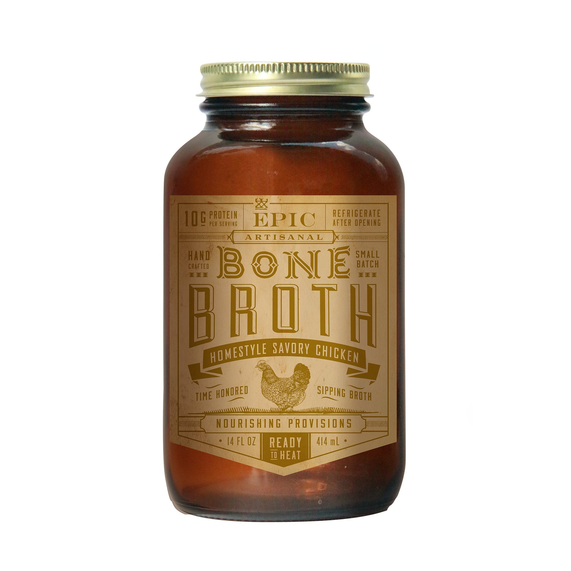 Epic Artisanal Bone Broth, Homestyle Savory Chicken, 14 Ounce (Pack of 6)