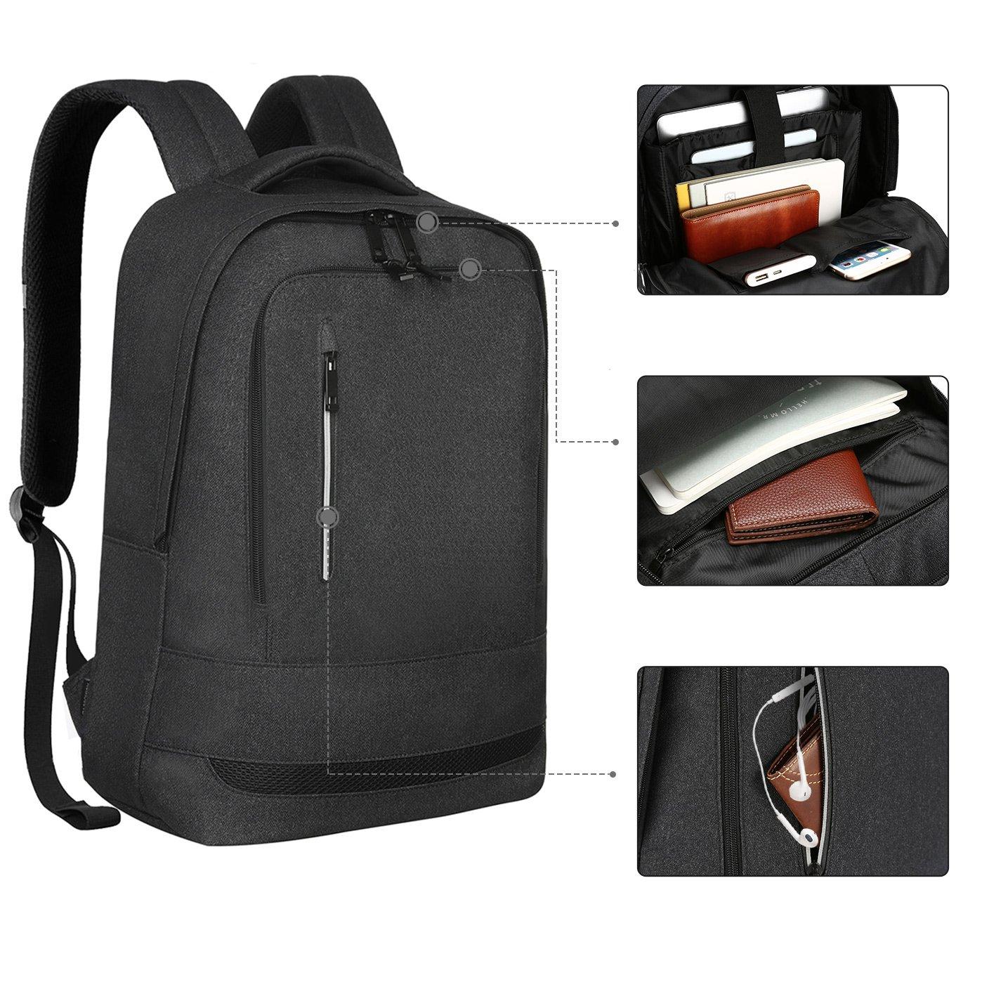 f17dfa25e3 YSINOBEAR Zaino per Computer Portatile Backpack Laptop Impermeabile  Zainetto Uomo per Ufficio e Scuola (Nero 1): Amazon.it: Elettronica