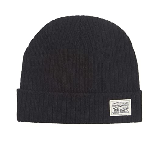 7f709691eff1d Levi s Men s Knit Cuff Beanie with Woven Label