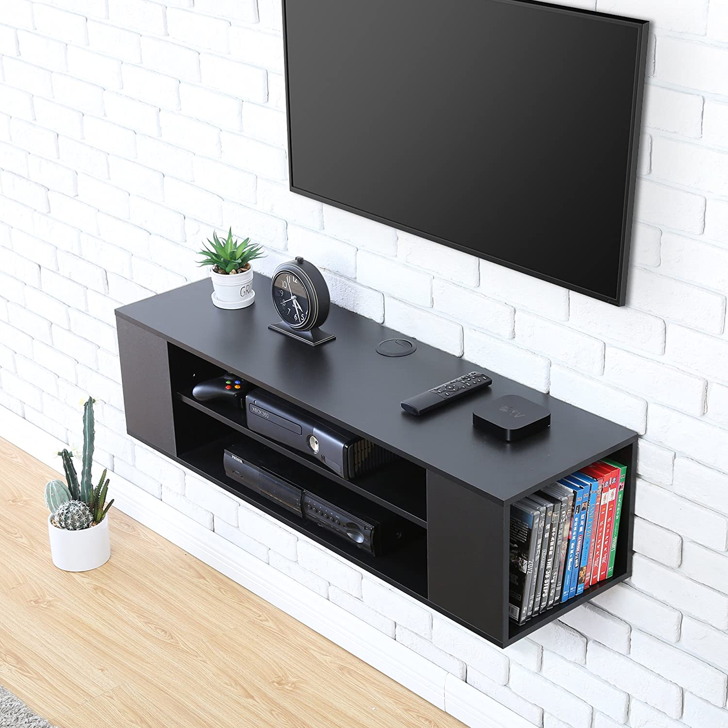 FITUEYES Floating TV Stand Cabinet Wall Mount Wood Entertainment Unit Black DS210002WB