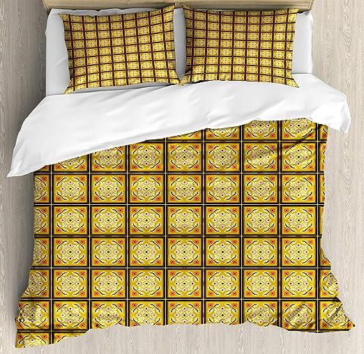 Juego de funda nórdica española Ilustración de talavera floral en cuadrados, juego de cama decorativo de