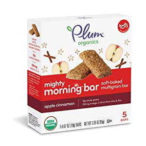 Plum Organics Mighty Morning, Organic Toddler Bar, Apple Cinnamon, 0.67 Ounce Bars, 5 Count (Pack of 8)