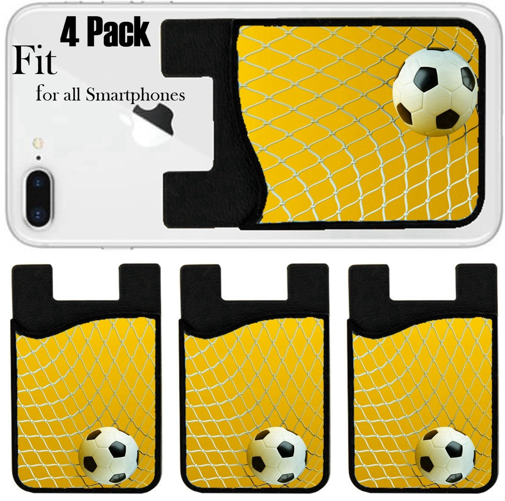 Liili Phone Card holder sleeve/wallet for iPhone Samsung Android and all smartphones with removable microfiber screen cleaner Silicone card Caddy(4 Pack) IMAGE ID: 11886094 a soccer ball in a net goa