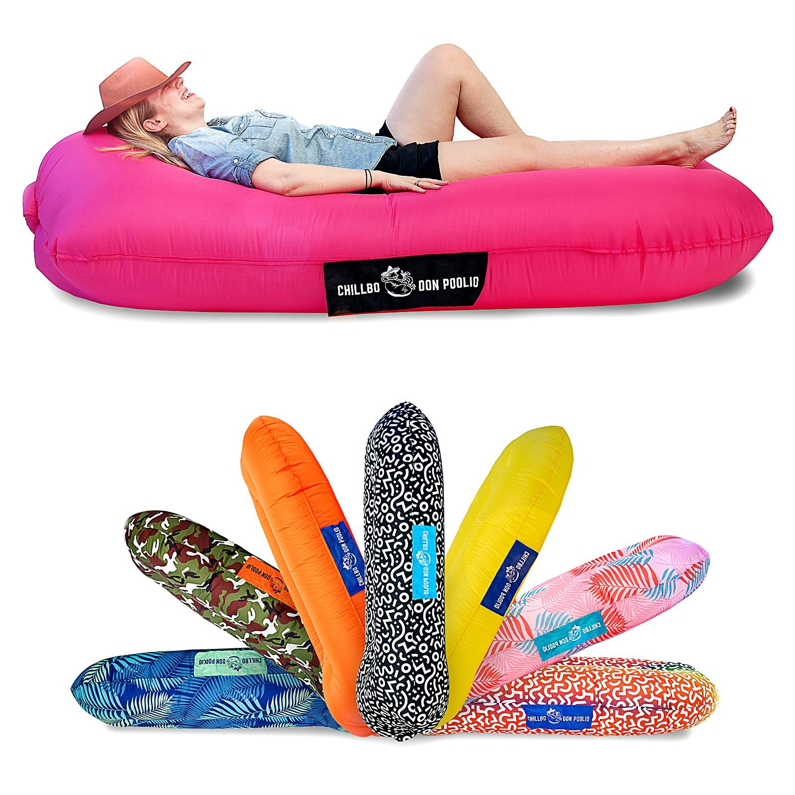 Chillbo Don POOLIO Pool Floats for Adults - Cool Patterns, Inflatable Sofa & Kids Hammock - Best Camping Gear for River Floats Hammock Chair & Raft for Beach (Pink + Black) by Chillbo