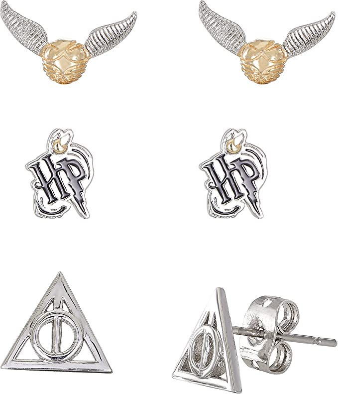 Harry Potter Jewelry for Women and Girls, Silver Plated Snitch, Harry PotterStud Earrings Set