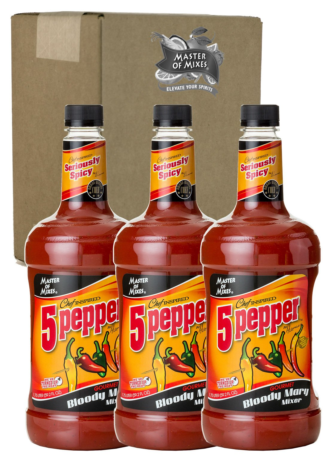 Master of Mixes 5 Pepper Extra Spicy Bloody Mary Drink Mix, Ready To Use, 1.75 Liter Bottle (59.2 Fl Oz), Pack of 3 by Master of Mixes (Image #1)