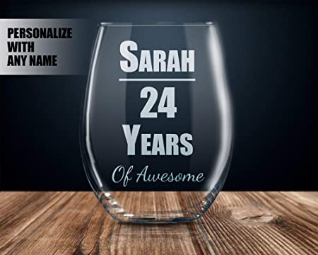 Vaso de vino personalizable para 18 cumpleaños con nombre ...