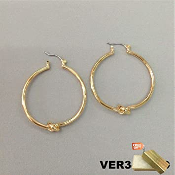 Brand new black and gold hoop fashion earrings giftbox
