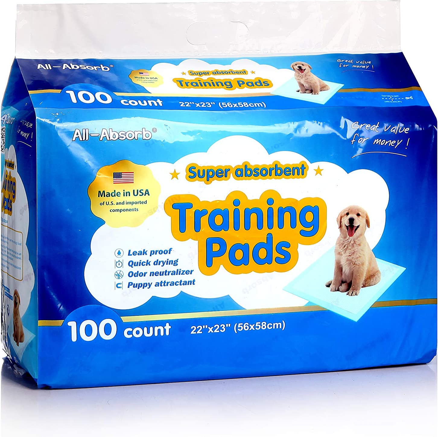 All-Absorb A01 Training Pads 22-inch By 23-inch, Pack of 100 : Pet Training Pads : Pet Supplies