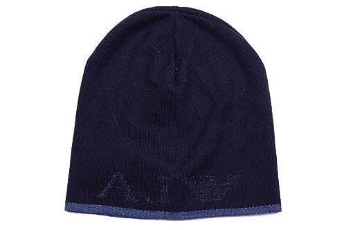 Armani Jeans cuffia berretto uomo in lana originale coppla blu  Amazon.it   Scarpe e borse 249eee173a5b