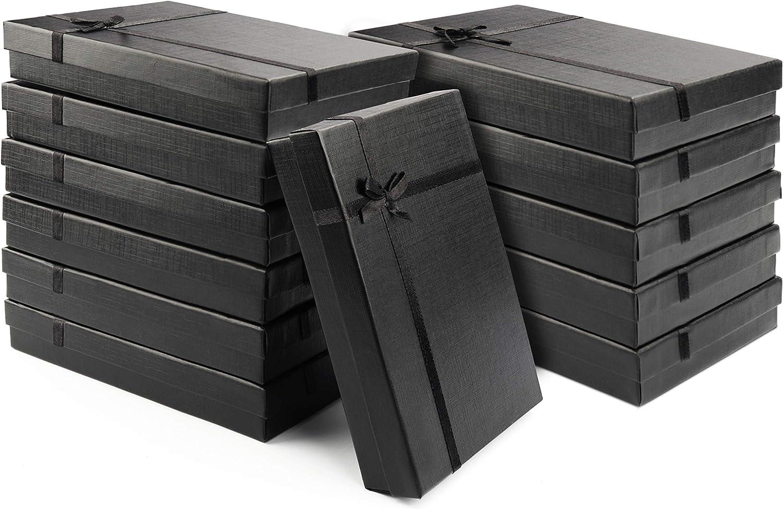Kurtzy Caja para Regalo Negras (Pack de 12) - 16x12x3cm Cajas Joyas con Inserto de Terciopelo – Caja de Presentación Regalo Cumpleaños para Pendientes, Collares - Cajas de Cartón para Regalo