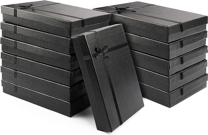 Kurtzy Caja para Regalo Negras (Pack de 12) - 16x12x3cm Cajas Joyas con Inserto de Terciopelo – Caja de Presentación Regalo Cumpleaños para Pendientes, Collares - Cajas de Cartón para Regalo: Amazon.es: