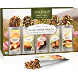 Tea Forté GARDEN HARVEST WHITE Single Steeps Organic White Tea Loose Leaf Tea Sampler, 15 Single Serve Pouches, Fresh Fruit and Herb Flavors