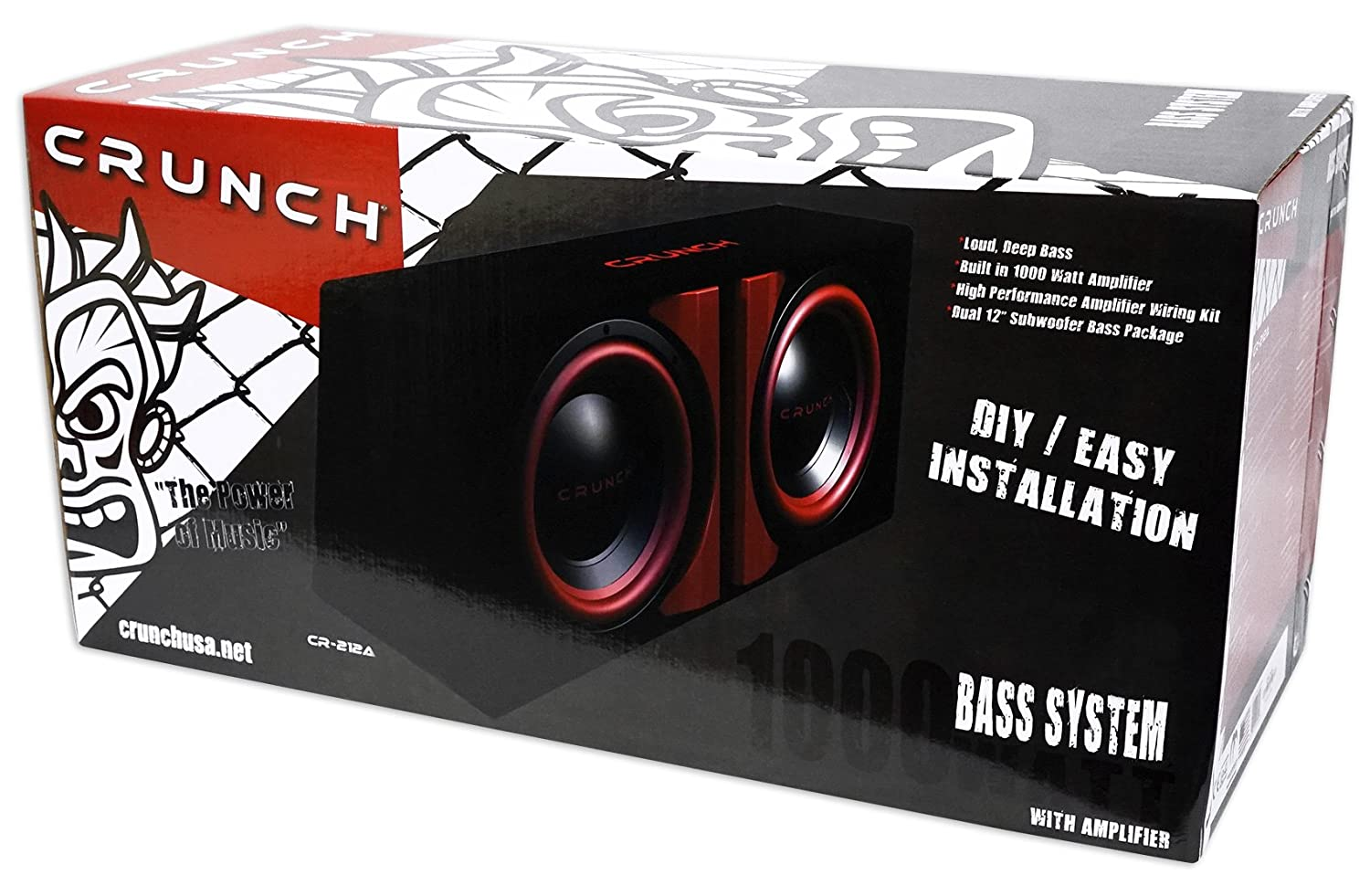 Crunch Cr 212a 1000w Dual 12 Powered Loaded Subwoofers Bass Box Wiring Kit In Enclosure Wire Car Electronics