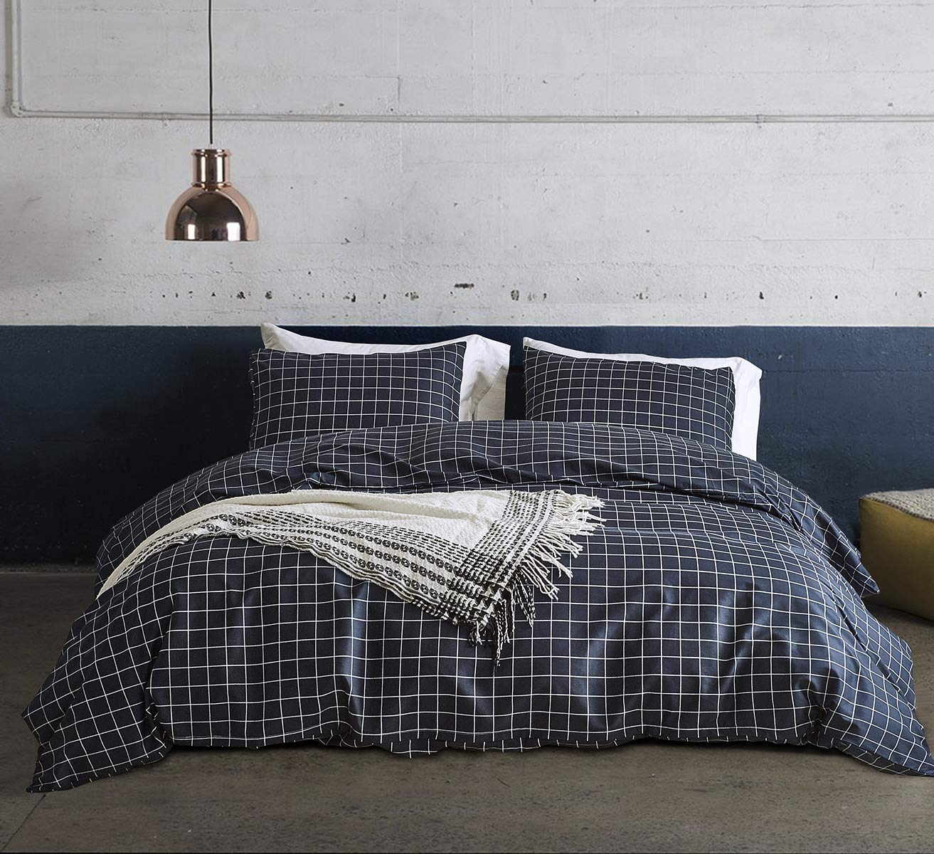 CoutureBridal Grid Pattern Duvet Cover Sets Twin Boys Navy Gingham Geometric Checkered Printed Reversible Mens Bedding Quilt Cover Set 3 Pieces-1 Duvet Cover+1 Pillowcase