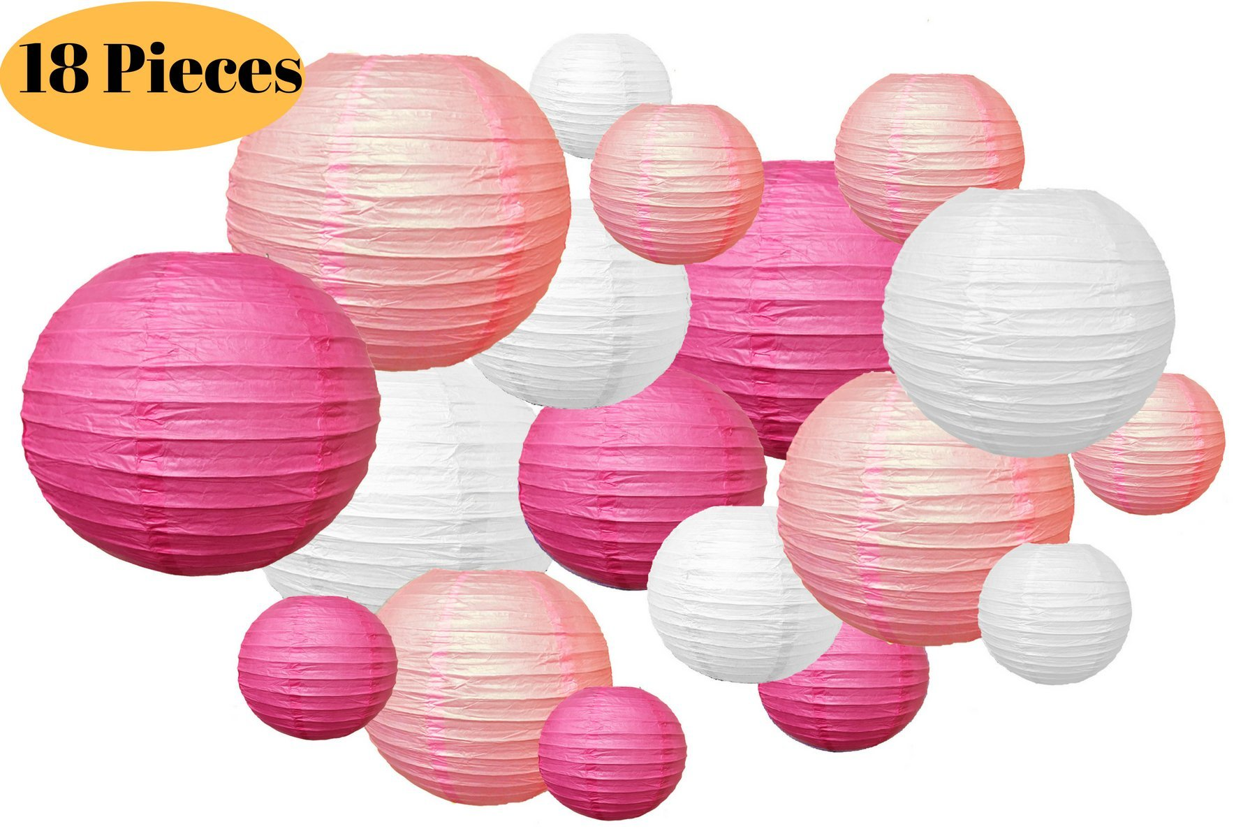 18 Pc Paper Round Lantern for Birthday Bridal Wedding Baby Shower Festival Party Decoration - Great for Indoor or Outdoor (Pink)